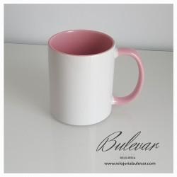 Taza Cerámica Interior y asa color rosa